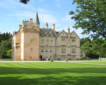 the national trust: FORRES, SCOTLAND, AUGUST 1 2014: The 16th century tower house of Brodie Castle near Inverness in Scotland. Now run by the National Trust it is a popular highland tourist attraction.