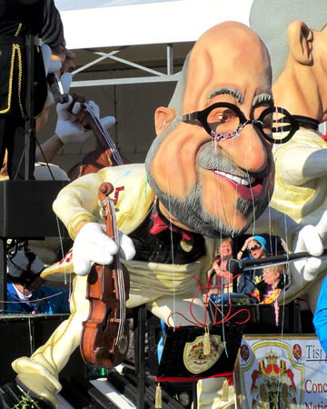 prime minister: AALST, BELGIUM, 15 FEBRUARY 2015: A caricature of Charles Michel during the famous carnival parade in Aalst. He is a the current Prime Minister of Belgium.