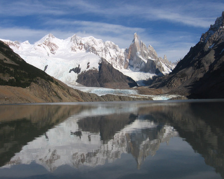 chalten: The beautiful moutain peak of Cerro Torre, reflected in a glacial lake at Los Glaciers National Park in near El Chalten, Argentina.
