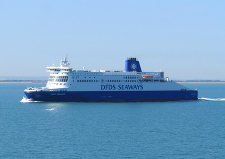 english channel: DUNKERQUE, FRANCE, AUGUST 22 2015: A DFDS seaways ferry crossing the English Channel. DFDS is Danish owned and is Northern Europes largest shipping and logistics company.
