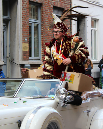 recognized: AALST, BELGIUM, FEBRUARY 7 2016: Prince Carnival Dennis de Wolf, rides through the streets during the Carnival Parade in Aalst, which is a UNESCO recognized event of Intangible Cultural Heritage.
