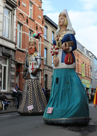 recognized: AALST, BELGIUM, FEBRUARY 7 2016: The Aalsterse Reuzen, Giants, during the annual carnival parade in Aalst, which is a UNESCO recognized event of Intangible Cultural Heritage.
