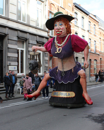 to paula: AALST, BELGIUM, FEBRUARY 7 2016: Giant and Voil Jeanet Ons Paula. An annual participant during the carnival parade in Aalst, which is a UNESCO recognized event of Intangible Cultural Heritage.