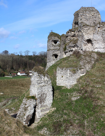 norman castle: Exterior view of the beautiful ruins of the castle of Arques-la-Bataille, in Seine-maritime in Normandy, France