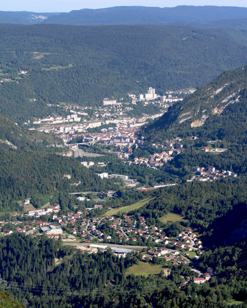 blanche: The town of Sainte Claude in the French Jura taken from Belvédère La Roche Blanche outlook point. Stock Photo
