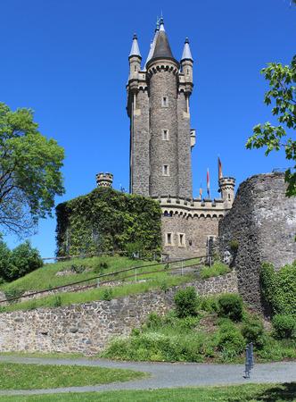 hessen: The 19 century tower ,Wilhelmsturn, the famous landmark in Dillenburg, Hesse, in Germany in the summer.