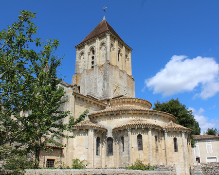 The beautiful 12th century church of St Hilaire in Melle, France. Saint-Hilaire Church is also a UNESCO World Heritage Site since 1998, and a stage of the Santiago de Compostela Trail.