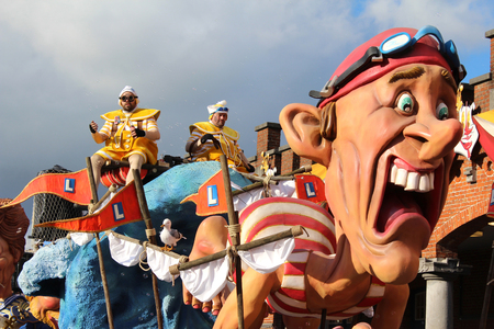 AALST, BELGIUM, 12 FEBRUARY 2018: One of the brightly colored floats and participants during the annual carnival parade in Aalst. Editorial