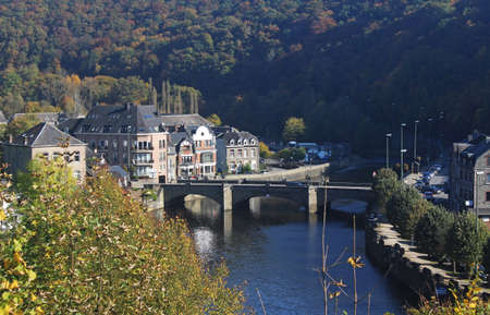 View over the river Ourthe on a sunny fall morning at La Roche en Ardenne, Belgium. Stok Fotoğraf