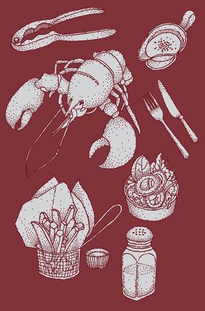 Vector hand drawing illustration of lobster, garlic sauce, tomato sauce, salt, french fried, lobster cracker, salad, knife, and fork.