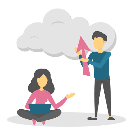Data cloud storage concept. Business people save information in digital cloud. Idea of futuristic technology and safety. Vector illustration