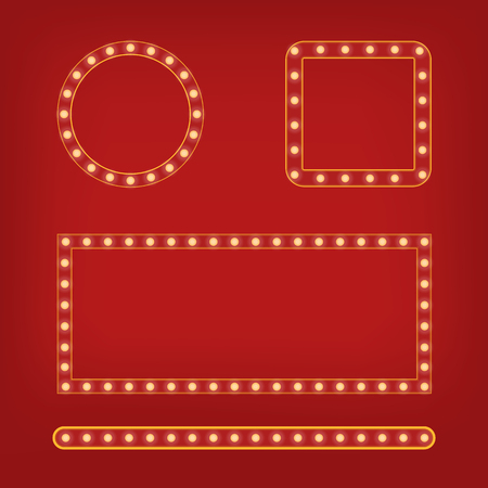 Red frame with light bulb around set. Bright mirror or background element. Retro vintage banner decoration. Circus style vector illustration.