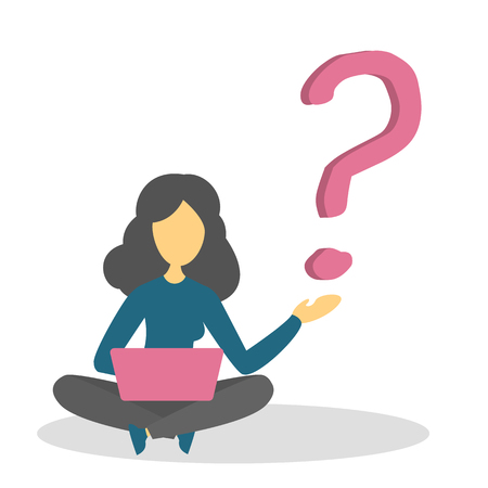 Woman sitting in doubt at the big question mark. Problem and search for solution. Person in confusion. Vector illustration in flat style  イラスト・ベクター素材