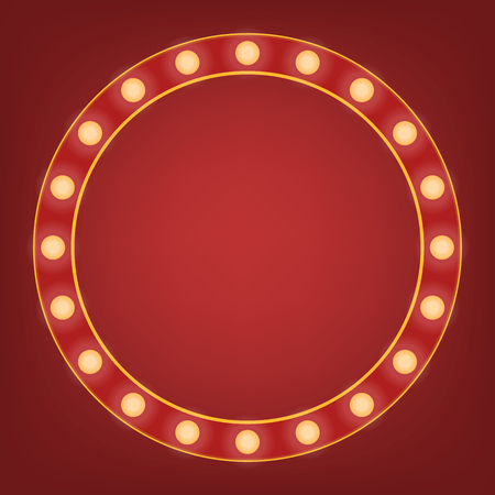 Red frame with light bulb around. Bright mirror or background element. Retro vintage banner decoration. Circus style vector illustration.
