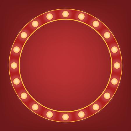Roter Rahmen mit Glühbirne herum. Heller Spiegel oder Hintergrundelement. Retro-Vintage-Banner-Dekoration. Zirkusart-Vektorillustration.
