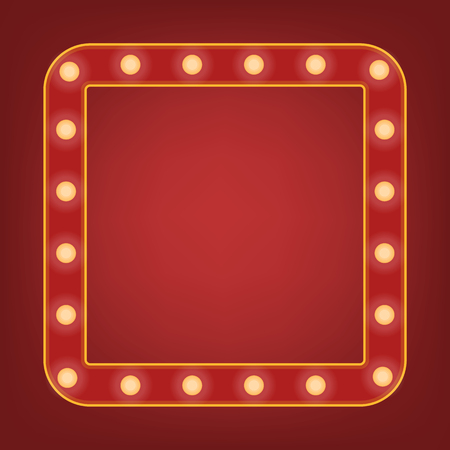 Red frame with light bulb around. Bright mirror or background element. Retro vintage banner decoration. Circus style vector illustration. Stock Illustratie