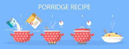 Porridge for breakfast recipe. Cooking in boiling water breakfast. Instruction for people on diet. Morning oatmeal illustration. Vector design.