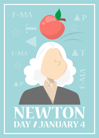 Web banner for Newton day on January 4. Education idea. Global holiday. Isaac Newton invention. Vector illsutration