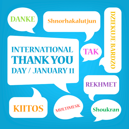 International thank you day celebration. Greeting card design with speech bubble. Idea of appreciation. People of different culture around the world celebrate global holiday. Ilustração