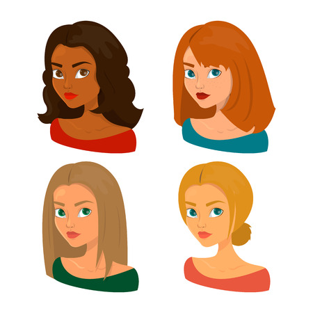 Analisi del colore stagionale. Volto di donna di diversi tipi. Ragazza invernale, estiva, primaverile e autunnale. Tipo di pelle e capelli. Avatar di donna.
