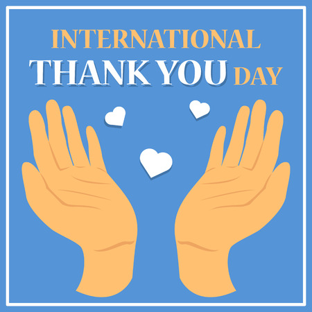International thank you day celebration. Greeting card design. Idea of appreciation. People of different culture around the world celebrate global holiday.
