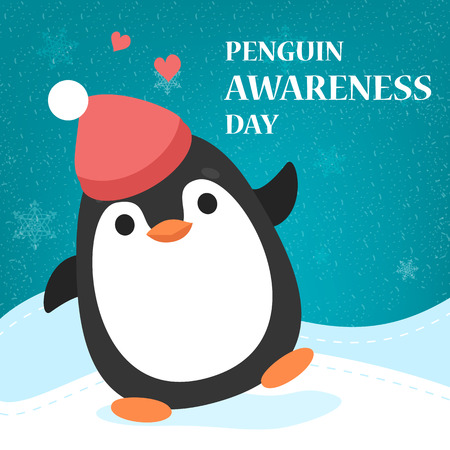 Penguin Awareness Day greeting card. Animal balancing. Banner for holiday. Save environment concept. Polar cute funny bird. Penguin day advertisement.