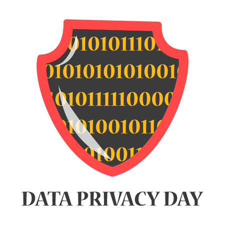 Data privacy day global holiday. Digital information security awareness day. Banner for website about data protect. Unofficial january holiday.