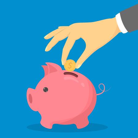 Moneta d'oro messa a mano nel salvadanaio rosa. Economia e investimenti. Concetto di finanza. Ricchezza finanziaria.