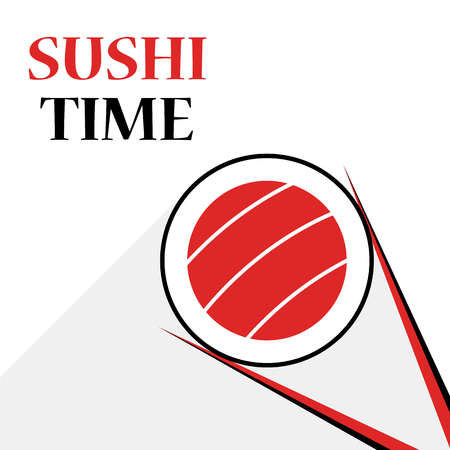 Set of sSsalmon and rice. Cuisine with seafood. Emblem for menu of japan restaurant.