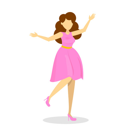 Beautiful young woman in pink dress. Happy female jump. Attractive girl is excited. Joy and happiness.