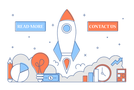 Startup web banner line art style. Business development and creative idea concept. Launch new project. Rocket flying up as metaphor of new idea.