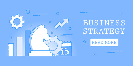 Business strategy. Management and marketing. Advertising banner with chess symbol. Professional growth concept. Stock Illustratie