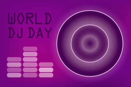 World DJ day banner. Disco club and night party, vinyl plate and musician. Neon style logo.