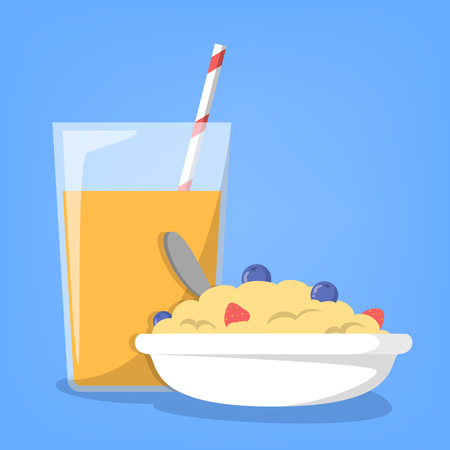 Breakfast time. Orange juice and healthy porridge. Morning meal poster. Fruit drink for vegetarian. Delicious fresh food. Cereal with berry.