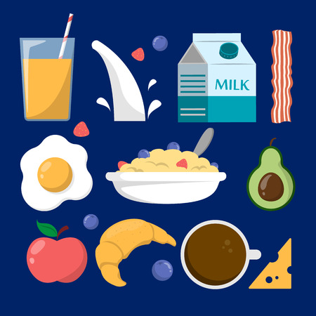 Set of breakfast meal. Morning food. Muesli in a bowl, flakes, eggs, coffee and bacon. Milk package and strawberry in porridge. Orange juice and fruit.
