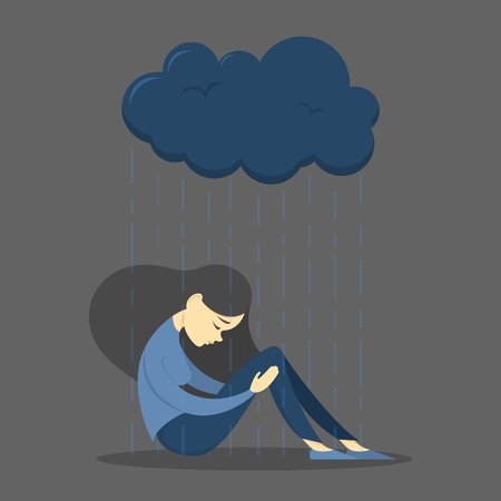 Sad girl in depression . Woman in sadness. Grief and loneliness, mental disorder. Rainy cloud above young female who embrace her legs.