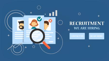Banner de web de contratación. Busque persona para un trabajo, entreviste y contrate. Construir carrera en una empresa. Encontrar empleado