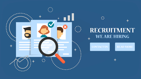 Recruitment web banner. Search person for a job, interview and hire. Build career in a company. Find employee