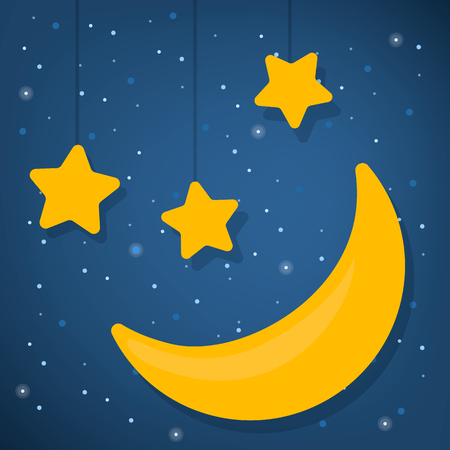 World sleep day concept. Good night. Star and moon shape in the sky. Night and dream. Midnight slumber.