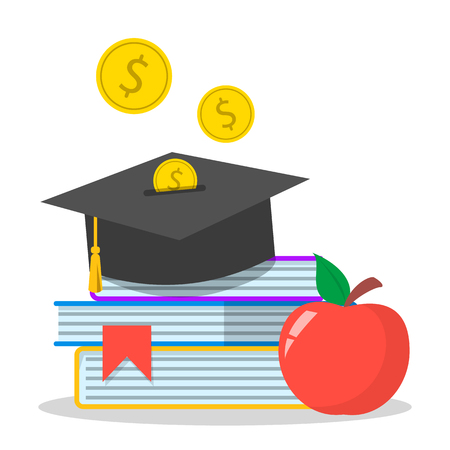 Investment in education concept web banner. Savings for study Çizim