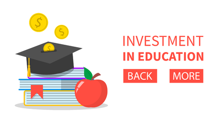 Investment in education concept web banner. University graduation cap. Financial savings for study. Golden dollar coin falling. Scholarship and capital. Ilustrace