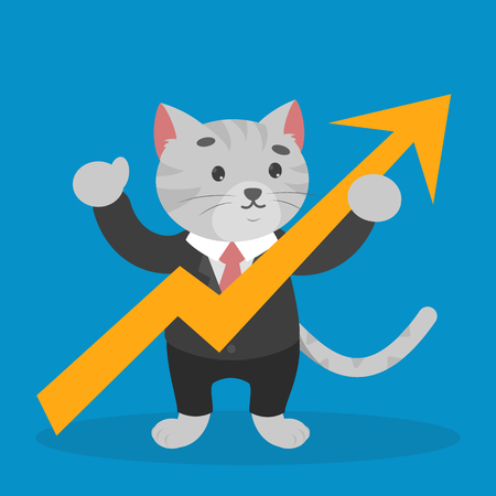 Business cat in a suit holding arrow rising up