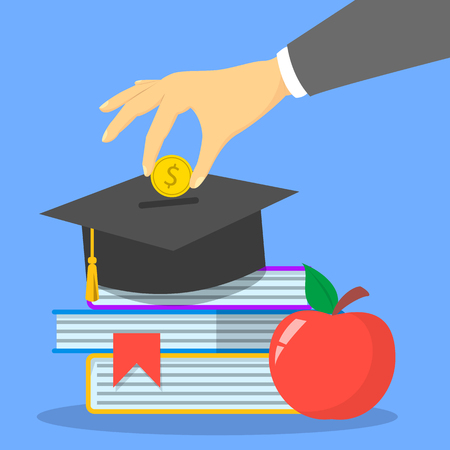 Investment in education concept web banner. University graduation cap. Financial savings for study. Golden dollar coin falling. Scholarship and capital. Illustration