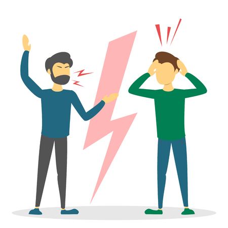 Angry couple argue. People shouting and fight. Dispute between man. Stress, problem in relationship. Disagreement. Guy yelling.  イラスト・ベクター素材