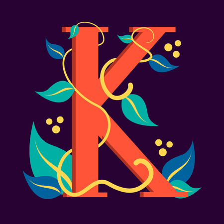 Letter symbol K. Design of logotype with leaf. Graphic design and branding, creative typescript. Abstract alphabet.
