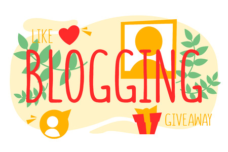 Internet blogging. Online advertising and digital content Illustration