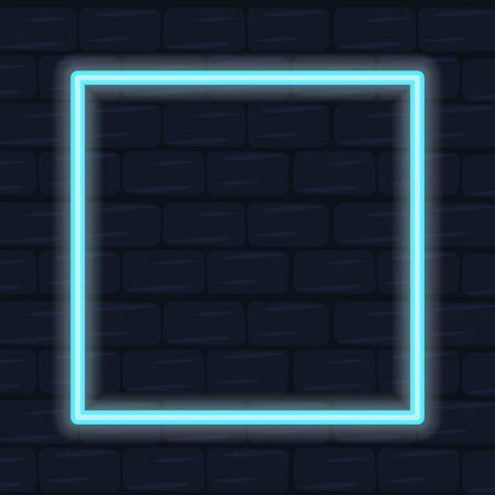 Square neon frame, angular shape. Electric decoration Ilustração
