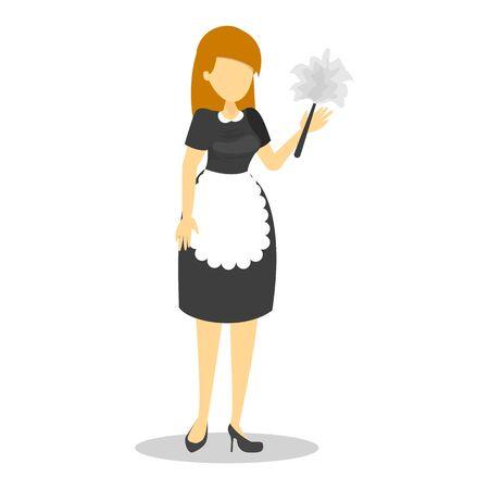 Hermosa sirvienta en uniforme negro y delantal blanco Ilustración de vector