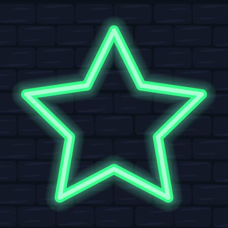 Star neon frame, angular shape. Electric decoration for night club. Bright signboard vector. Shiny billboard, green color on the brick wall. Ilustração