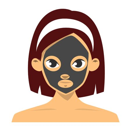 Woman with charcoal face mask vector isolated. Facial cosmetic, skin care and beauty. Female person on acne treatment procedure.